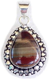 The Best Jewellery Red River Jasper Pendant, Silver Plated Pendant, Handmade Designer Pendant, Single Bail Pendant BRS-12475