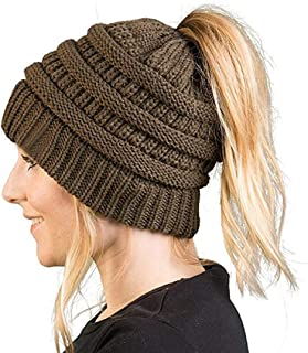 Women's Ponytail Beanie Hat, Warm Winter Hat for Messy Bun Ponytail Hole,No Messy Hair Ponytail Beanie Hat