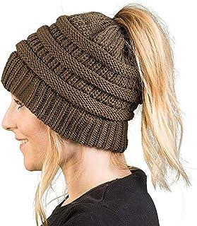 Women's Ponytail Beanie Hat, Warm Winter Hat for Messy Bun Ponytail Hole,No Messy Hair Ponytail Beanie Hat
