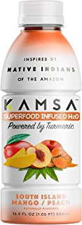 KAMSA South Island Mango/Peach, Turmeric, Superfood Infused Water, Kosher Certified, Vegan, Non-gmo, Gluten Free, Caffeine Free, 16.9 ounce, Pack of 12
