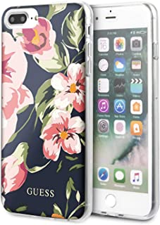 CG Mobile Guess Phone Case for iPhone 8 Plus and iPhone 7 Plus Hard Case PC/TPU Flower Collection with Shiny Number 3 Navy...