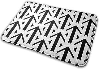 矢印と三角形の装飾バスマットメモリーフォームフロントドアマットバスルームラグカーペット内側屋外15.7X23.5インチ