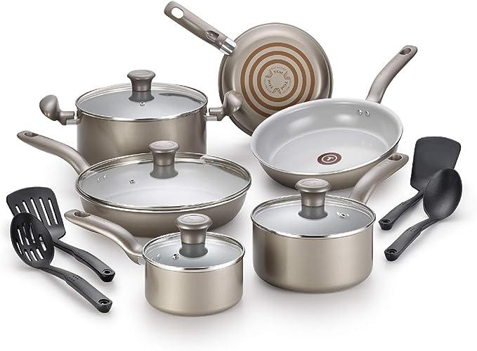 T-fal G919SE64 Initiatives Ceramic Nonstick Dishwasher Safe Toxic Free 14-Piece Cookware Set, Gold