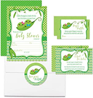 """Deluxe Two Peas in A Pod Boy Girl Twins Baby Shower Party Bundle, Includes 20 Each of 5""""x7"""" Fill in Invitations, Diaper Raffle Tickets, Bring a Book Cards & 2"""" Thank You Favor Stickers w/ Envelopes"""