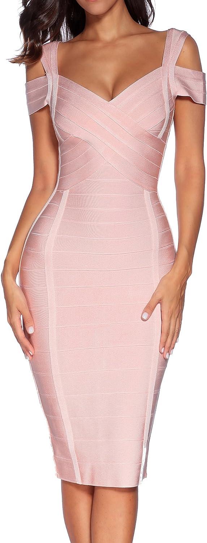 houstil Women's Rayon V Neck Clubwear Party Bodycon Bandage Dress