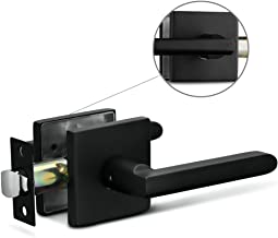 Berlin Modisch Passage Lever Door Handle Slim Square Non-Locking Lever Set [for Hallway or Closet Doors] Reversible for Right & Left Sided Doors Heavy Duty - Iron Black Finish