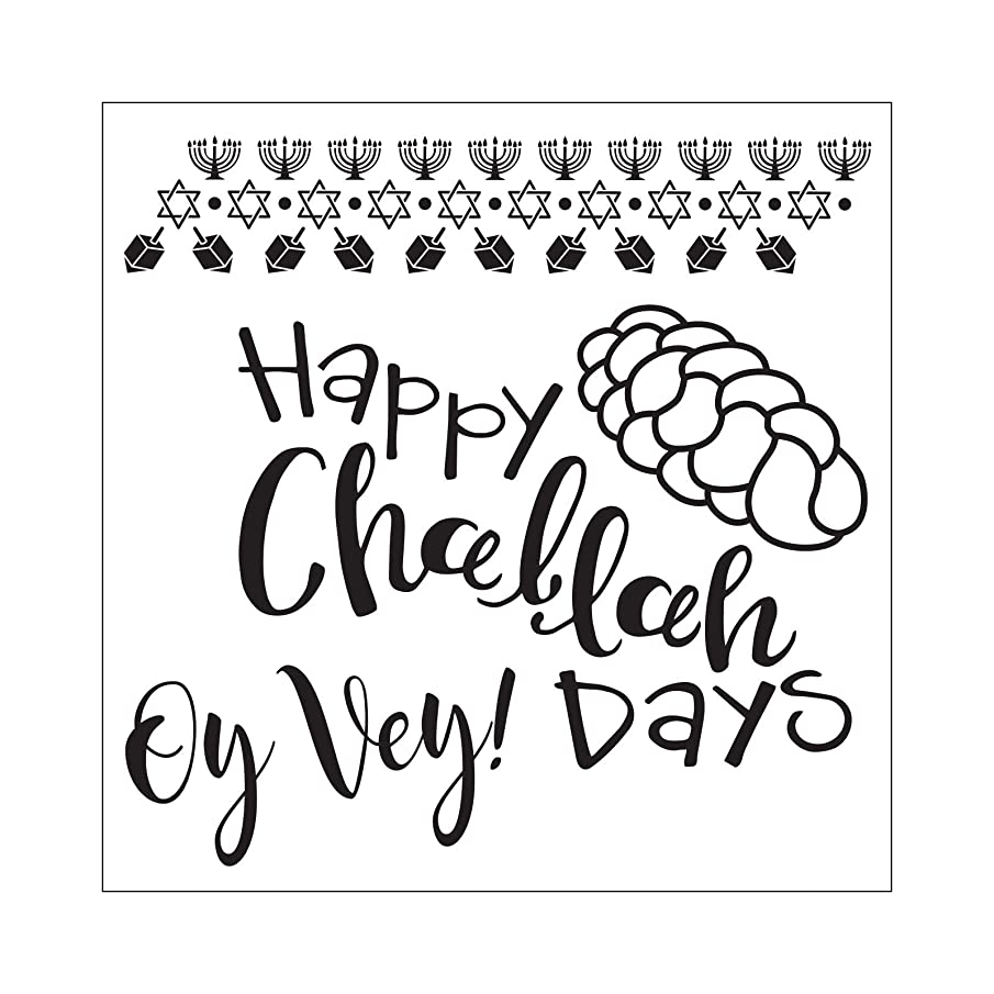 Sizzix 663165 Framelits Die Set with Stamps Happy Challah Days, 6-Pack, Multicolor