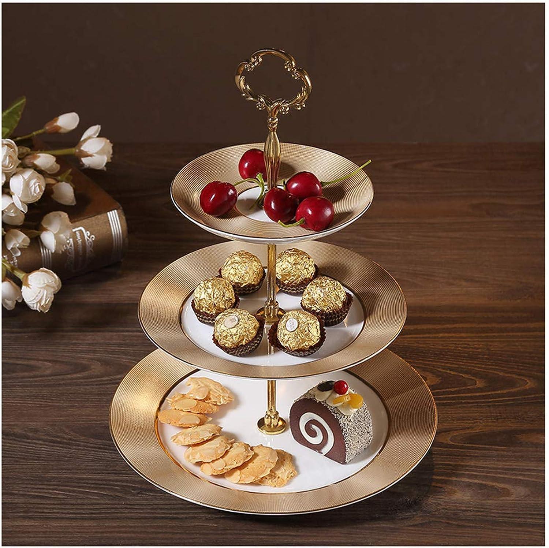 QL Assiette De Fruits Doré Salon Table à Dessert en Céramique Multi-Couche Petite Européenne en Céramique Gateau Aux Fruits Gateau Plaque 3 Couches