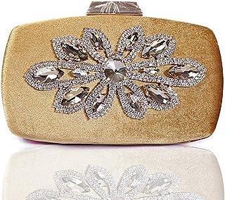 Songlin@yuan Women's Wool Evening Dress Hand Flower Rhinestone Rhinestone Banquet Bag Fashion Dress Shoulder Messenger Bag Size: 19 * 4 * 10cm (Color : Gold)