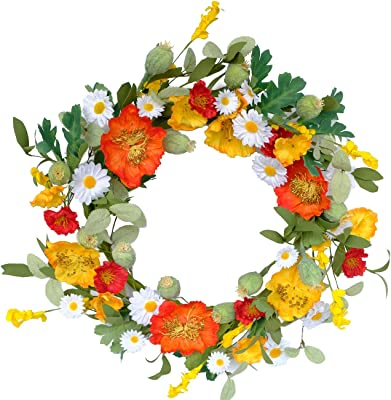 Bibelot 20 inches Floral Wreath with Mixed Poppy Wreath, Red White Yellow Flowers Wreath,Spring&Summer Wreath for Front Door,Wall, Home Decorations