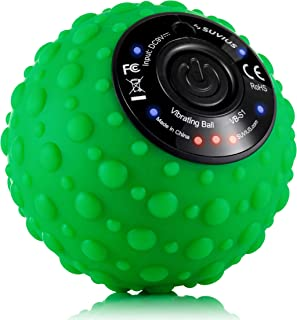 SUVIUS Ball Electric Vibrating Rechargeable Foam Roller - 4 Intensity Levels for Firm Battery-Powered Deep Tissue Recovery, Training, Massage - Therapeutic Back and Muscle Massage Roller