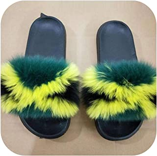 plage Ladies Colorful Furry Fluffy Slippers Women's Lovely Plush Slides Party Furry Flip Flops Women's Sandals