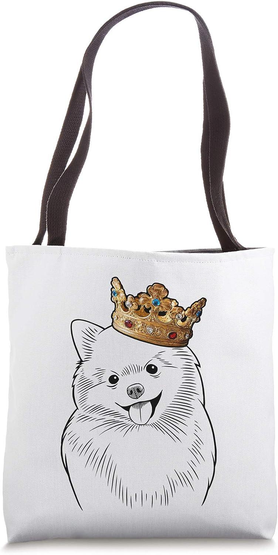 Pomeranian Dog Wearing Crown Tote Bag