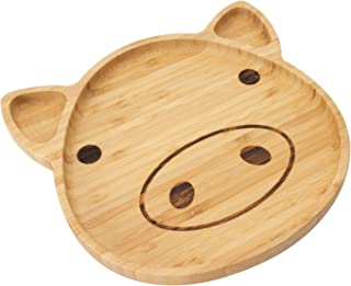 Bamboo Kid Plate Bamboo Dinner Tableware for Baby Feeding Portion Control with 3 Dividers (Pig)