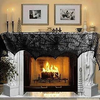 Aytai 46cm x 240cm Cobweb Fireplace Scarf Mysterious Halloween Party Door Window Decoration Lace Black SpiderWeb Mantle La...