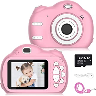 Kids Camera, 8MP Mini Rechargeable Children Camcorder Children Digital Video Front and Rear Selfie, Shockproof Soft Cover ...