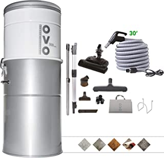 Best OVO Heavy Duty Powerful Central Vacuum System, Hybrid Filtration (With or Without disposable bags) 35L or 9.25Gal, 700 Air watts with 30 ft Carpet Deluxe Accessory Kit, Large Vac, Silver Reviews