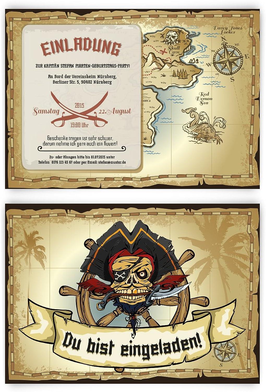 Einladungskarten zum Geburtstag (60 Stück) im Piraten Design Design Design Schatz Insel Kapitän Meer B00P2NTA9M | Berühmter Laden  9be9d8