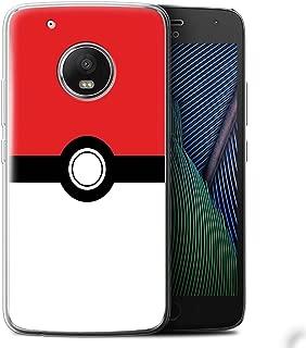 Phone Case for Motorola Moto G5 Plus Pokeball Anime Inspired Red Design Transparent Clear Ultra Soft Flexi Silicone Gel/TPU Bumper Cover