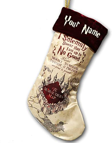 Kurt Adler Personalized Monogrammed Harry Potter Magical Marauders Map Christmas Stocking - 18 Inches
