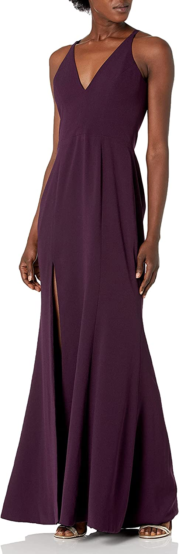Dress the Population Women's Iris Spaghetti Strap Plunging Long Dress, Plum, Small