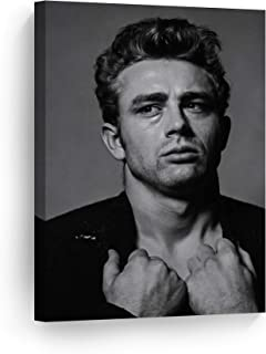 SmileArtDesign Sexy Photoshoot of James Dean Black and White Wall Art Canvas Print American Icon Artwork Home Decor Wall Decor Stretched Ready to Hang-%100 Handmade in The USA - 12x8