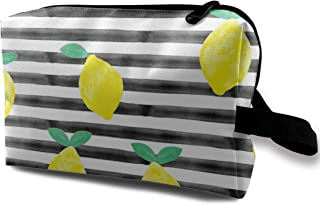 So Fresh Lemons On Black Watercolor Stripes Travel Makeup Cute Cosmetic Case Organizer Portable Storage Bag for Women