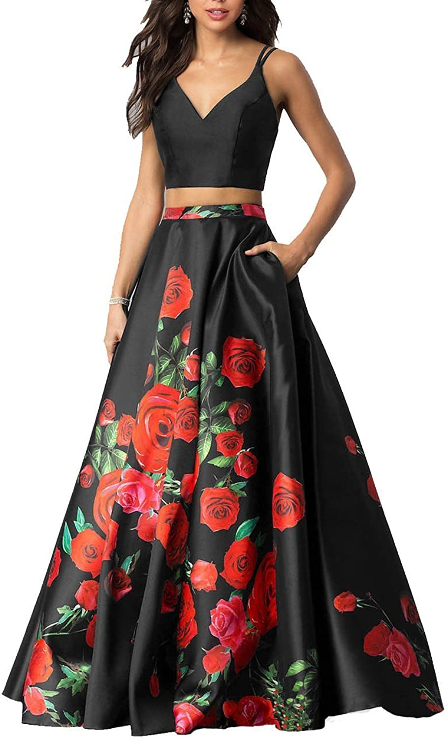 JoyVany Women's Floral Print Two Piece Prom Dress Long Formal Evening Gowns JVLF004