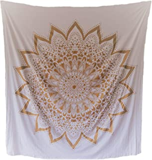 Live Radiantly Gold and White Mandala Tapestry - Handmade - 100% Cotton - Naturally Dyed - 86 inches x 82 inches