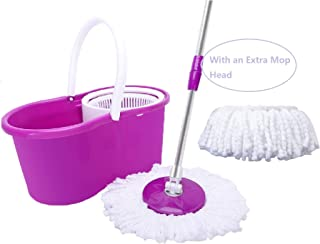 360° Household Mop Bucket Floor Cleaning System Stainless Steel Extended Length Handle with with 2 Cotton Mop Heads, Microfiber Spin (Purple)