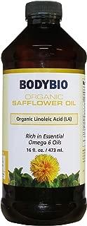 BodyBio - Organic Safflower Seed Oil, Unrefined, Cold Pressed, High Linoleic Acid, 16oz