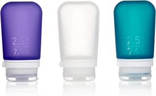 humangear Gotoob+ Silicone Travel Bottle with Locking Cap, 3-Pack, Medium (2.5oz), Clear/Purple/Teal (Multi) - HG3186