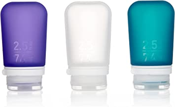 humangear Gotoob+ Silicone Travel Bottle with Locking Cap, 3-Pack, Medium (2.5oz), Clear/Purple/Teal, One Size
