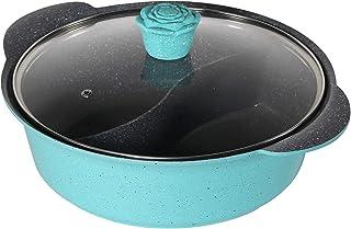 Haufson Yin Yang – Olla caliente | Funciona con todas las cocinas principales, naturalmente antiadherente, diseño sin costuras, utensilios de cocina profesional para el hogar (azul)