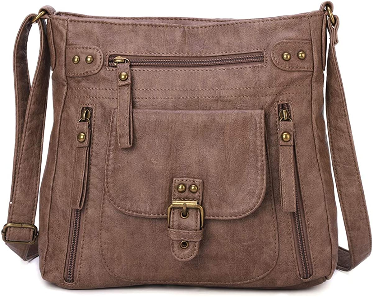KL928 Crossbody Bags for Women Shoulder Purses and Handbags, PU Washed Leather (Brownness): Handbags:
