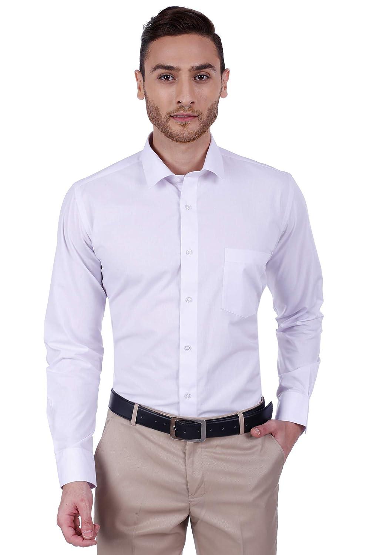 Dudlind Shirt for Men Formal Full Sleeves Regular Fit Plain White Shirt for  Office and Business wear.