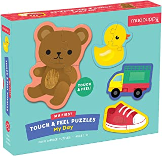 Mudpuppy 9780735355828 My Day Touch & Feel Jigsaw Puzzle - Four 3Piece Puzzles, Ages 1 to 3, Multicolor