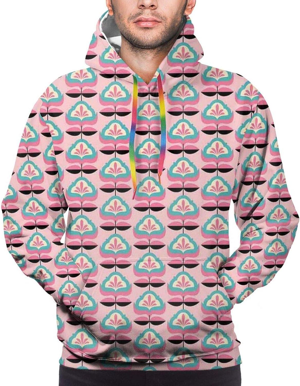 TENJONE Men's Hoodies Sweatshirts,Abstract Flower Pattern European Western Civilization Inspirations Baroque