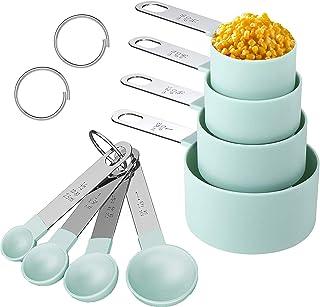مجموعة أكواب ملاعق القياس - 8 قطع من أكواب المطبخ الجافة القياس مجموعة أدوات المعالق كوب قياس متداخل مع مقبض من الفولاذ ال...