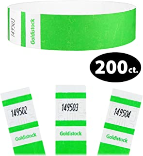 "Tyvek Wristbands - Goldistock Select Series Vibrant Neon Green 200 Count - ¾"" Arm Bands - Paper-Like Party Armbands - Fan-Folded (Better Security) - Heavier Tyvek Wrist Bands = Upgrading Your Event"