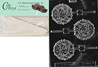Cybrtrayd 45St50-L028 75th Lolly Letters and Numbers Chocolate Candy Mold with 50-Pack 4.5-Inch Lollipop Sticks