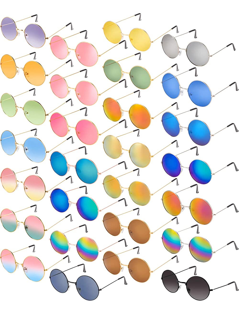 28 Pairs Hippie Sunglasses 60s Style Round Vintage Color Metal Frame Party Gifts