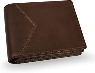 Lavievert Men's RFID Wallet/Crazy-Horse Genuine Leather Travel Bifold Wallet Central ID Window