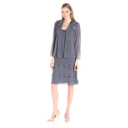 928193ce40f S.L. Fashions Women s Embellished Tiered Jacket Dress (Petite and Regular)