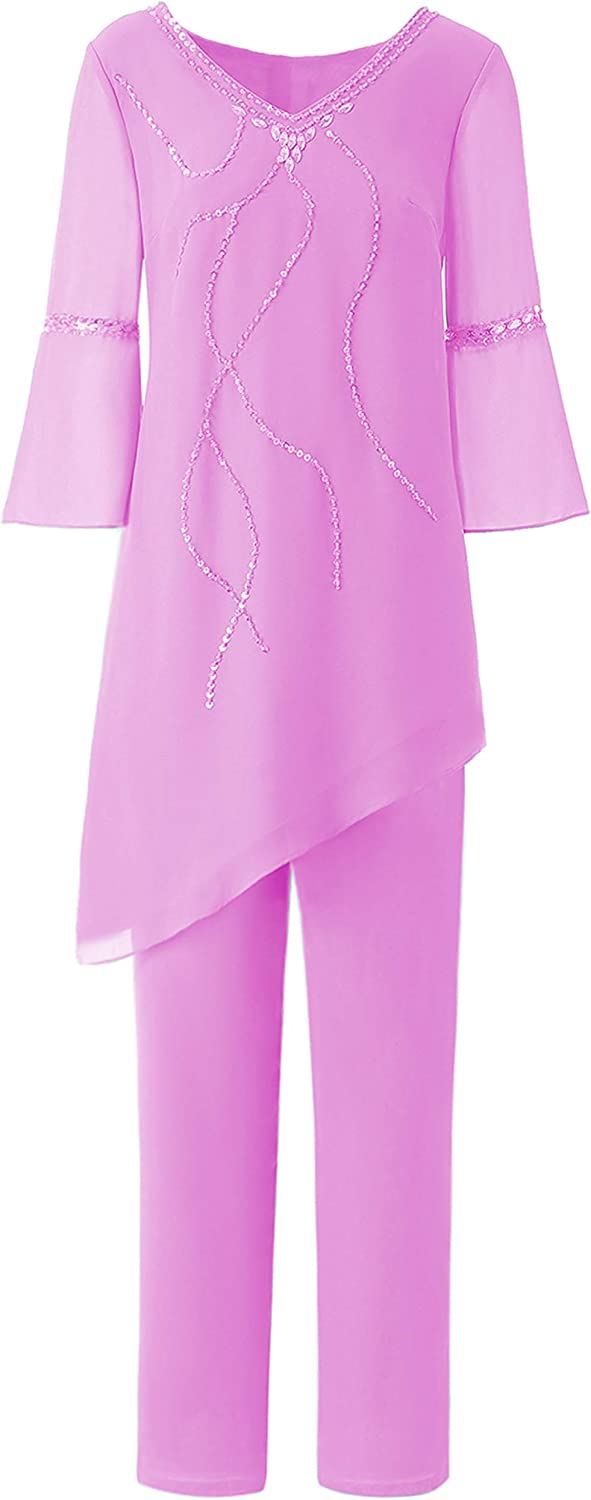 2 Two Pieces Beading Crystals Women Chiffon High-Low Mother of The Bride Dress Pant Suits for Formal Occasion