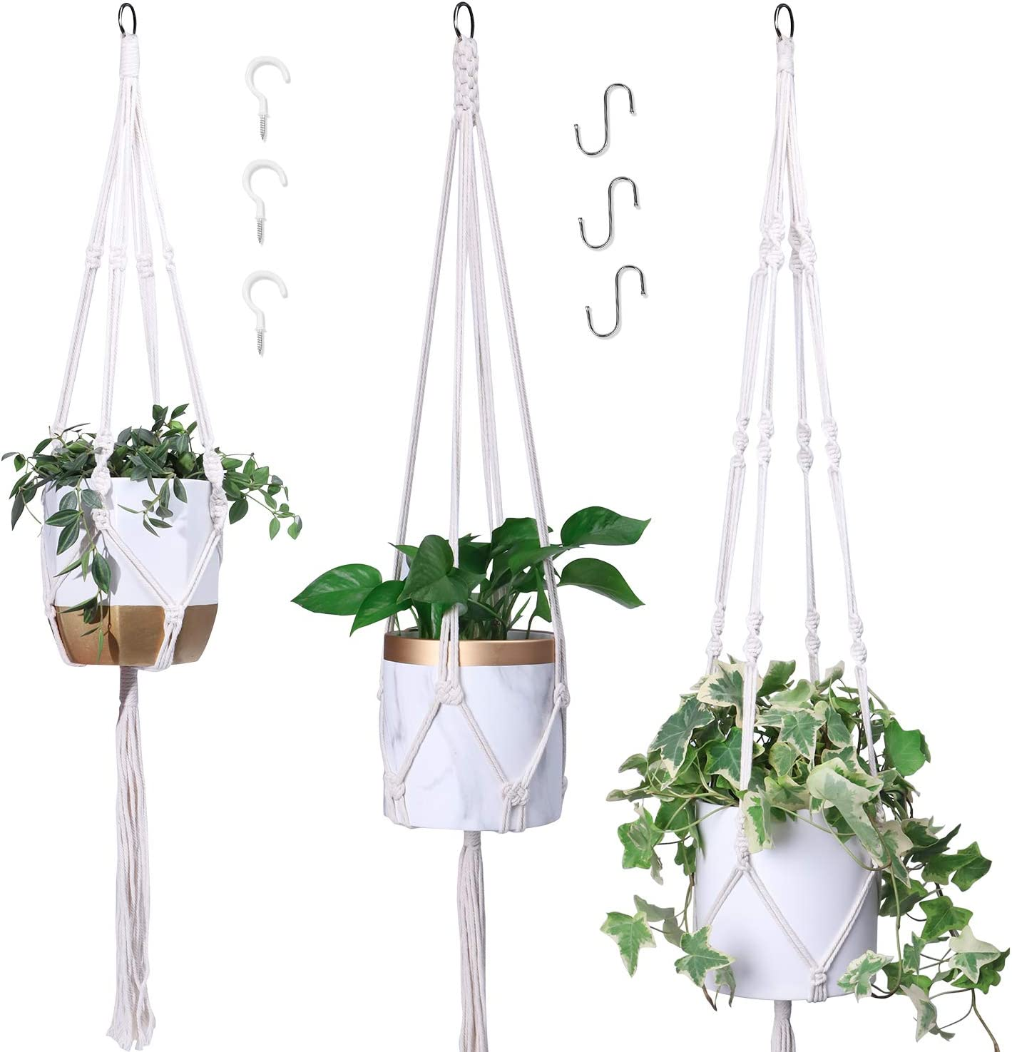 POTEY 3 Pack Denver Mall Macrame Plant Hangers Size Luxury goods Indoor Different Hanging