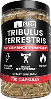 100% Pure Tribulus Terrestris |No Stearate or Rice Filler, 45% Steroidal Saponins, USA-Made, Vegetarian, Non-GMO, Gluten-Free,1370mg Tribulus Terrestris with No Additives