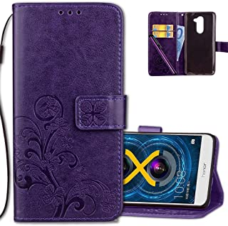 Honor 6X Wallet Case Leather COTDINFORCA Premium PU Embossed Design Magnetic Closure Protective Cover with Card Slots for Huawei Honor 6X (5.5 inch). Luck Clover Purple