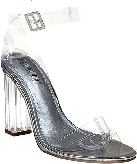 كيب روبين ماريا-2 شفافة مكتنزة كعب عالٍ للنساء، أشرطة شفافة مفتوحة الأصابع أحذية الكعب للنساء