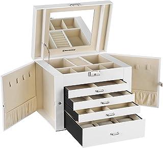 SONGMICS Caja Joyero, Organizador para Anillos y Collares, 30 x 25 x 22 cm, Blanco JBC217W